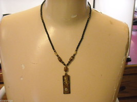 Handcrafted Beaded Necklace with Tribal Wood Carving Metalwork by Kenyan Artist image 3