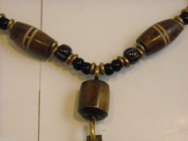 Handcrafted Beaded Necklace with Tribal Wood Carving Metalwork by Kenyan Artist image 5