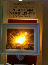 Hand painted  Porcelain Night light with bulb NIB fairies playing in moonlight image 2