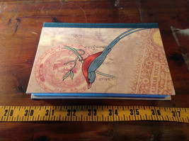 Handcrafted Journal with Red and Gray Bird on Cover Blank Pages Asian Look image 4