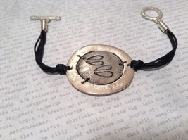 Handcrafted Hammered Sterling Silver Plated Bracelet with Deer Paw Print image 2