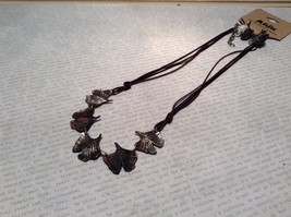 Handcrafted Pewter Necklace Earring Set Silver Tone Adjustable Ginkgo Leaf image 2