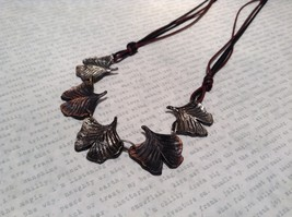 Handcrafted Pewter Necklace Earring Set Silver Tone Adjustable Ginkgo Leaf image 3