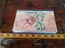 Handcrafted Journal with Red Tan Bird on Cover Blank Pages Asian Look image 4