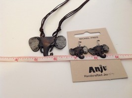 Handcrafted Pewter Based Metal Brass hammered elephant head necklace earring set image 5