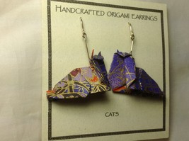 Handcrafted Real Gold Purple Origami Cat Dangling Earrings image 2