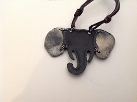 Handcrafted Pewter Based Metal Brass hammered elephant head necklace earring set image 4