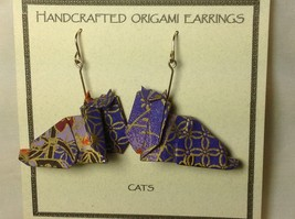 Handcrafted Real Gold Purple Origami Cat Dangling Earrings image 4