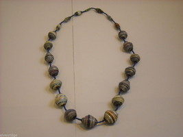 Handcrafted Multicolored and Blue Rolled Paper Beaded Necklace by Kenyan Artist image 2