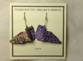 Handcrafted Real Gold Purple Origami Cat Dangling Earrings image 5