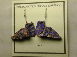 Handcrafted Real Gold Purple Origami Cat Dangling Earrings image 3