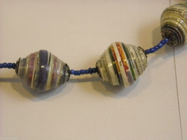 Handcrafted Multicolored and Blue Rolled Paper Beaded Necklace by Kenyan Artist image 4