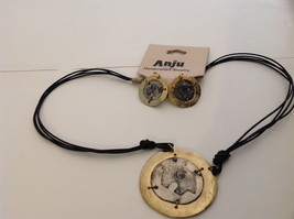 Handcrafted Pewter brass accent hammered rustic bear  necklace earring set image 2