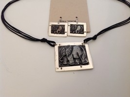 Handcrafted Pewter brass accent hammered rustic elephant necklace earring set image 2