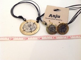 Handcrafted Pewter brass accent hammered rustic bear  necklace earring set image 5