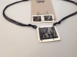 Handcrafted Pewter brass accent hammered rustic elephant necklace earring set image 3