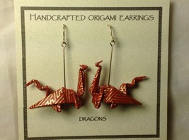 Handcrafted Real Gold Red Origami Dragon  Dangling Earrings image 4