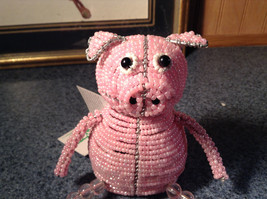 Handcrafted Pink Beadworx Pig Wire Sculpture Grass Roots Measurements Below image 2