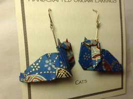 Handcrafted real gold origami crane blue cats dangling earrings image 3