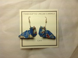 Handcrafted real gold origami crane blue cats dangling earrings image 4