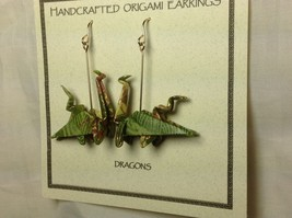 Handcrafted Real Gold Green Origami Dragon  Dangling Earrings image 2