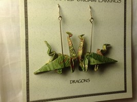 Handcrafted Real Gold Green Origami Dragon  Dangling Earrings image 4