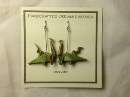 Handcrafted Real Gold Green Origami Dragon  Dangling Earrings image 5