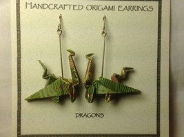Handcrafted Real Gold Green Origami Dragon  Dangling Earrings image 3