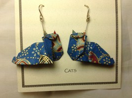 Handcrafted real gold origami crane blue cats dangling earrings image 2