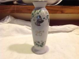 Lefton 25th Silver Anniversary overlay floral ceramic vase image 5
