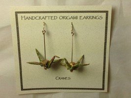 Handcrafted real gold origami crane earrings image 2