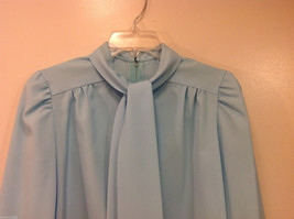 Handmade Baby Blue Long Sleeve Blouse Build-in Tie Bow , NO Size tag image 3
