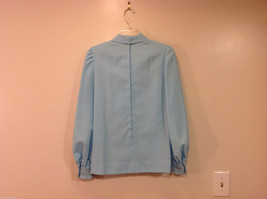 Handmade Baby Blue Long Sleeve Blouse Build-in Tie Bow , NO Size tag image 2