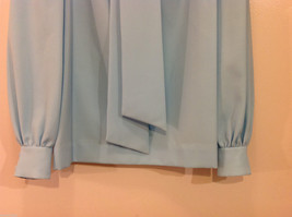 Handmade Baby Blue Long Sleeve Blouse Build-in Tie Bow , NO Size tag image 4
