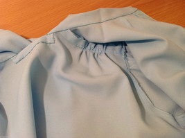 Handmade Baby Blue Long Sleeve Blouse Build-in Tie Bow , NO Size tag image 8