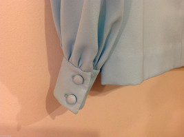 Handmade Baby Blue Long Sleeve Blouse Build-in Tie Bow , NO Size tag image 7