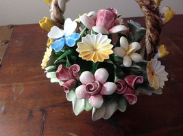 Handmade Ceramic Flower Basket with Intricate Ceramic Flowers Made in Italy image 4