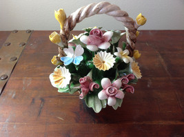 Handmade Ceramic Flower Basket with Intricate Ceramic Flowers Made in Italy image 2