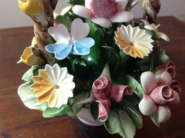 Handmade Ceramic Flower Basket with Intricate Ceramic Flowers Made in Italy image 3