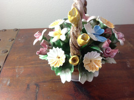 Handmade Ceramic Flower Basket with Intricate Ceramic Flowers Made in Italy image 5