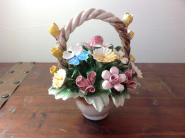 Handmade Ceramic Flower Basket with Intricate Ceramic Flowers Made in Italy image 6