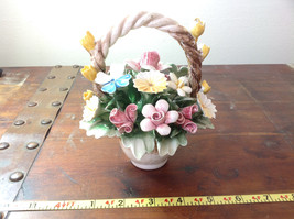 Handmade Ceramic Flower Basket with Intricate Ceramic Flowers Made in Italy image 7