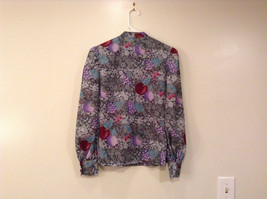 Handmade Blouse No Tags Gray with Flowers Fruits Side Slits Button Up Front image 2