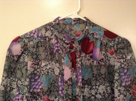 Handmade Blouse No Tags Gray with Flowers Fruits Side Slits Button Up Front image 3