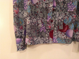 Handmade Blouse No Tags Gray with Flowers Fruits Side Slits Button Up Front image 5