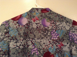Handmade Blouse No Tags Gray with Flowers Fruits Side Slits Button Up Front image 6