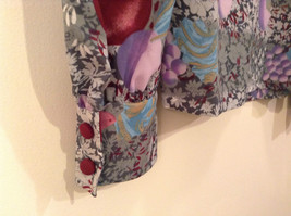 Handmade Blouse No Tags Gray with Flowers Fruits Side Slits Button Up Front image 8