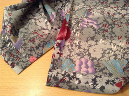 Handmade Blouse No Tags Gray with Flowers Fruits Side Slits Button Up Front image 11