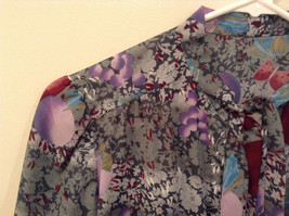 Handmade Blouse No Tags Gray with Flowers Fruits Side Slits Button Up Front image 9