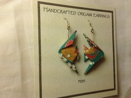 Handcrafted real gold origami crane teal fish dangling earrings image 2
